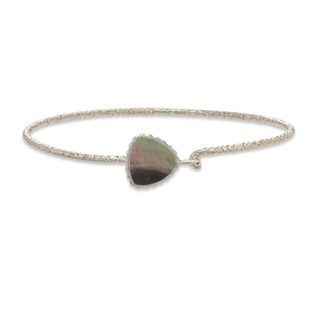 Sterling Silver Trillion Bangle Bracelet In Tahiti Mother of Pearl