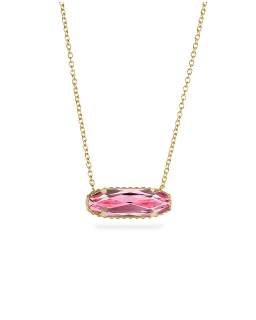 Sterling Silver Willow Necklace In Light Rose-Precious Metals Pendant-finish:18kt Gold Plated-Luca + Danni