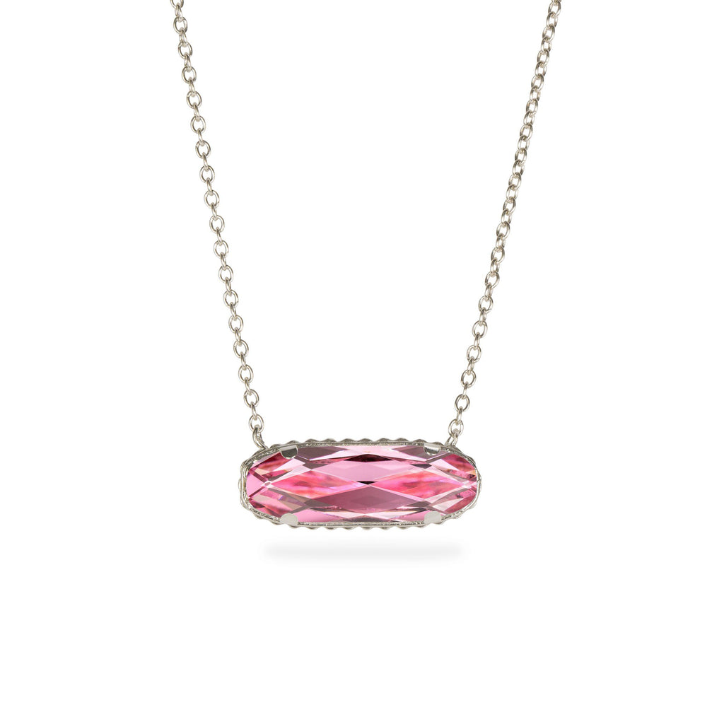 Sterling Silver Willow Necklace In Light Rose-Precious Metals Pendant-finish:Sterling Silver-Luca + Danni
