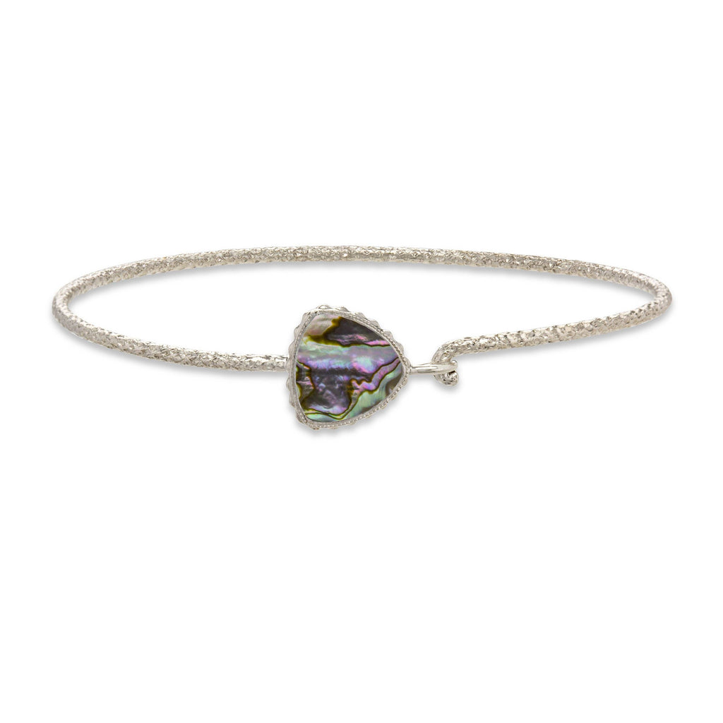 Sterling Silver Trillion Bangle Bracelet In Abalone Shell-Precious Metals Bracelet-Regular-finish:Sterling Silver-Luca + Danni