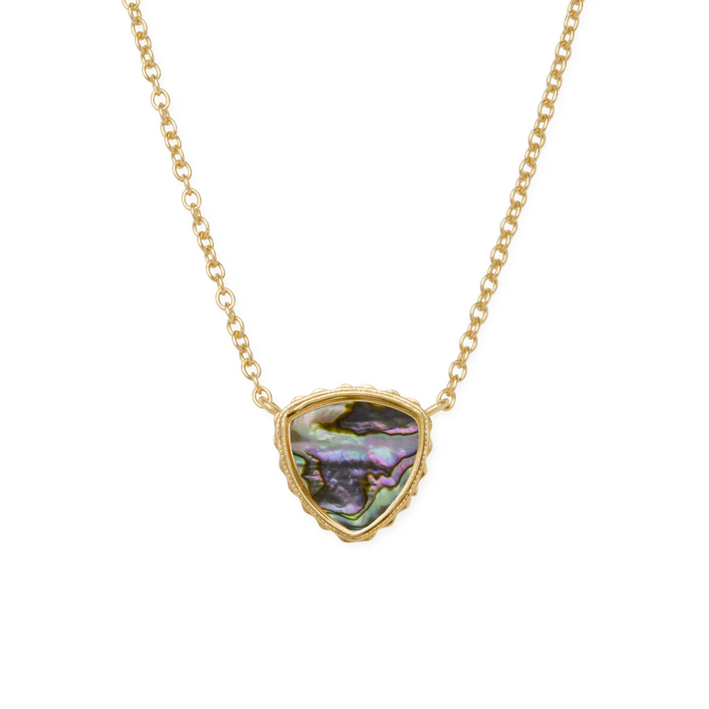 Sterling Silver Trillion Necklace In Abalone Shell