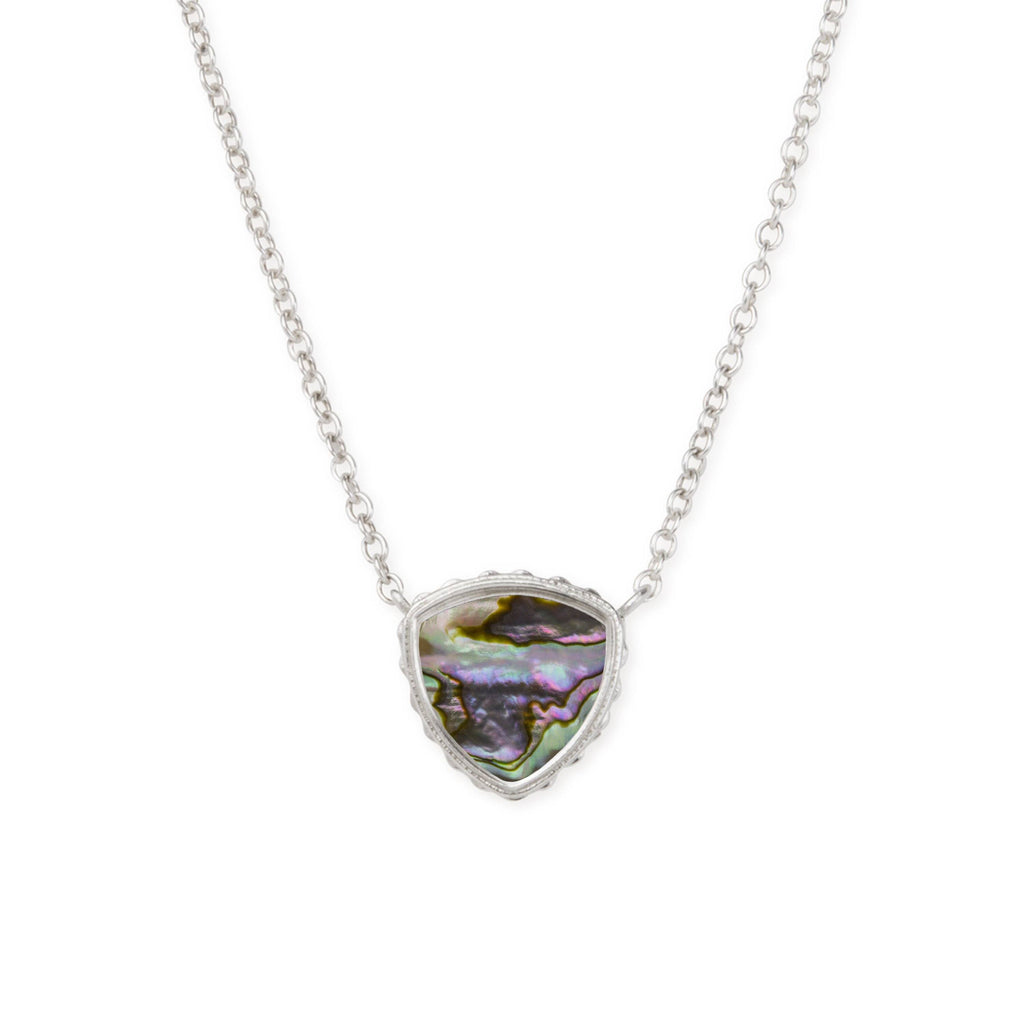 Sterling Silver Trillion Necklace In Abalone Shell-Precious Metals Pendant-finish:Sterling Silver-Luca + Danni