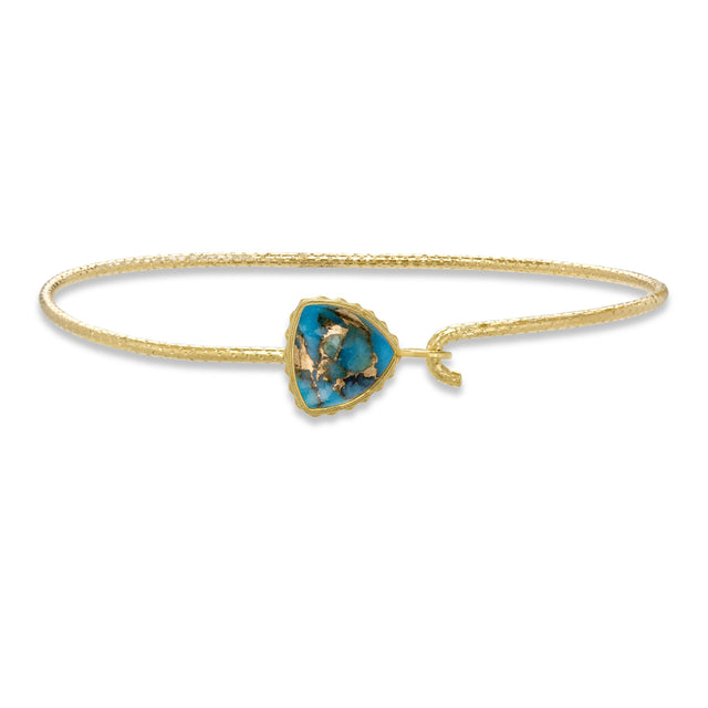 Sterling Silver Trillion Bangle in Turquoise Matrix finish:18k Gold Plated