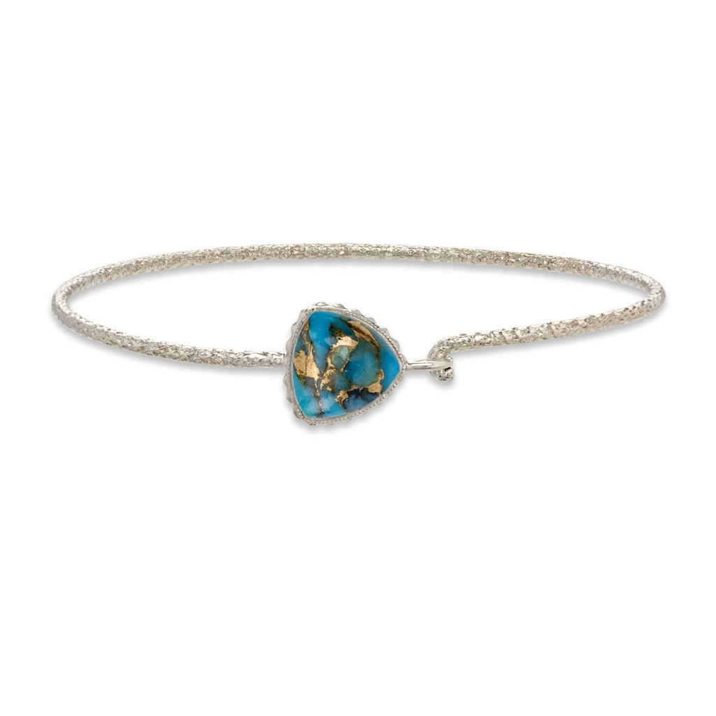 Sterling Silver Trillion Bangle in Turquoise Matrix finish:Sterling Silver