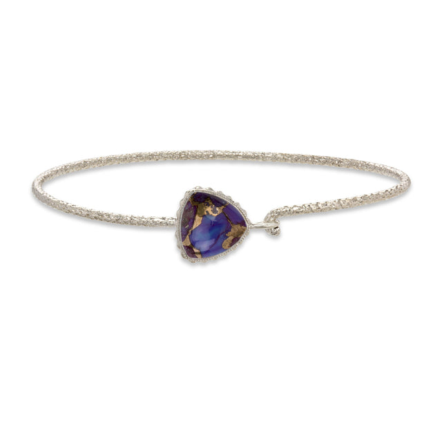 Sterling Silver Trillion Bangle in Purple Matrix finish:Sterling Silver