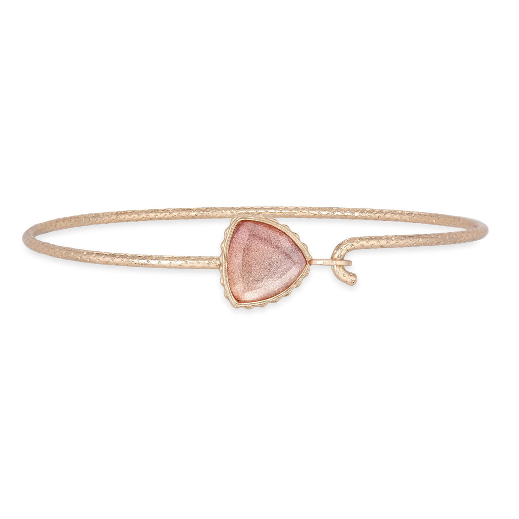 Sterling Silver Trillion Bangle Bracelet in Crystal Morganite