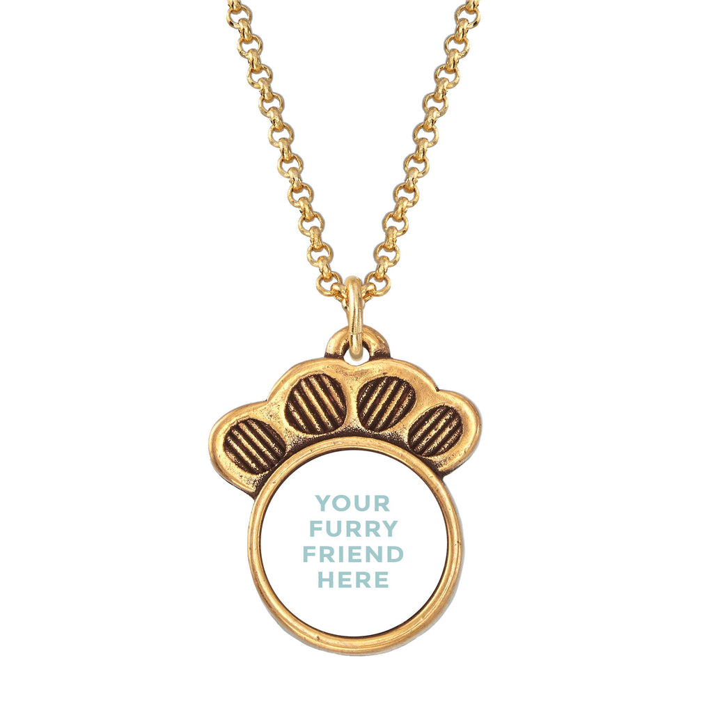 Pawprint Personalized Photo Necklace choose finish:choose