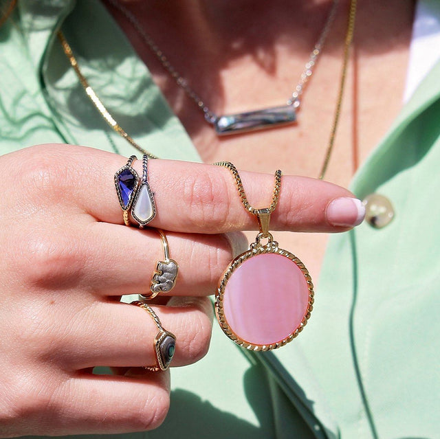 Kelsey Necklace in Pink Mussel Shell-Necklace-finish:-Luca + Danni