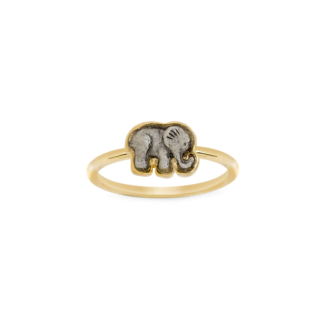 Two Tone Elephant Ring-Rings-finish:18kt Gold Plated-Size 6-Luca + Danni
