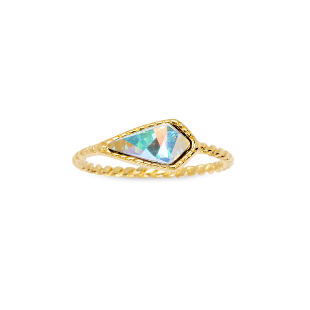 Sloane Ring in Crystal AB-Rings-finish:18kt Gold Plated-Size 6-Luca + Danni