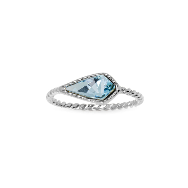 Sloane Ring in Aqua-Rings-finish:Silver Plated-Size 6-Luca + Danni