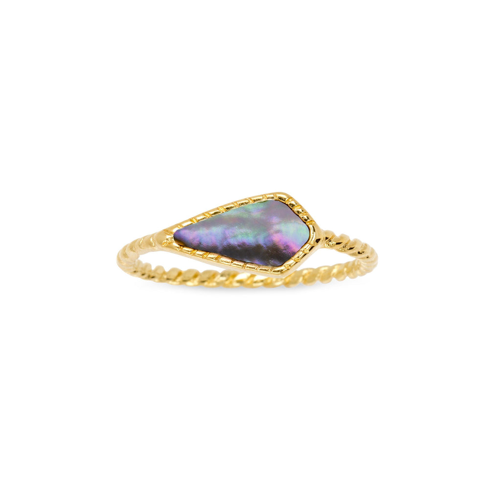 Sloane Ring in Abalone Shell-Rings-finish:18kt Gold Plated-Size 6-Luca + Danni