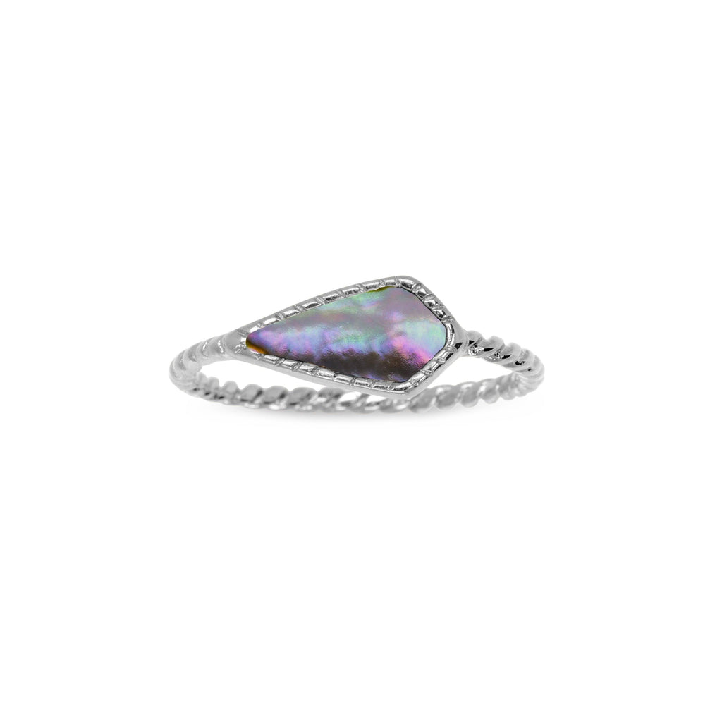Sloane Ring in Abalone Shell-Rings-finish:Silver Plated-Size 6-Luca + Danni
