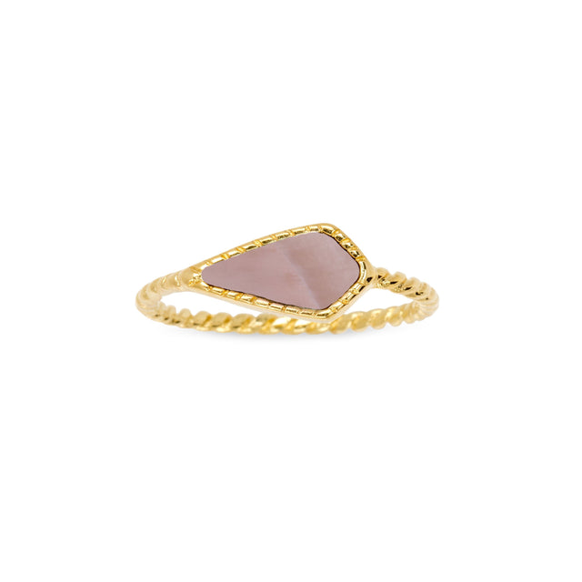 Sloane Ring in Pink Mussel Shell-Rings-finish:18kt Gold Plated-Size 6-Luca + Danni