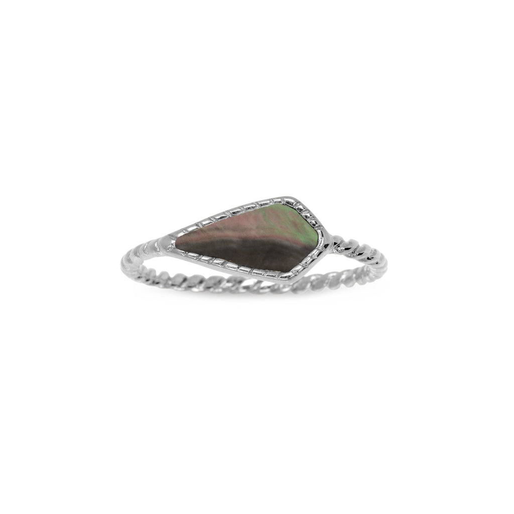 Sloane Ring in Tahiti Mother of Pearl-Rings-finish:Silver Plated-Size 6-Luca + Danni