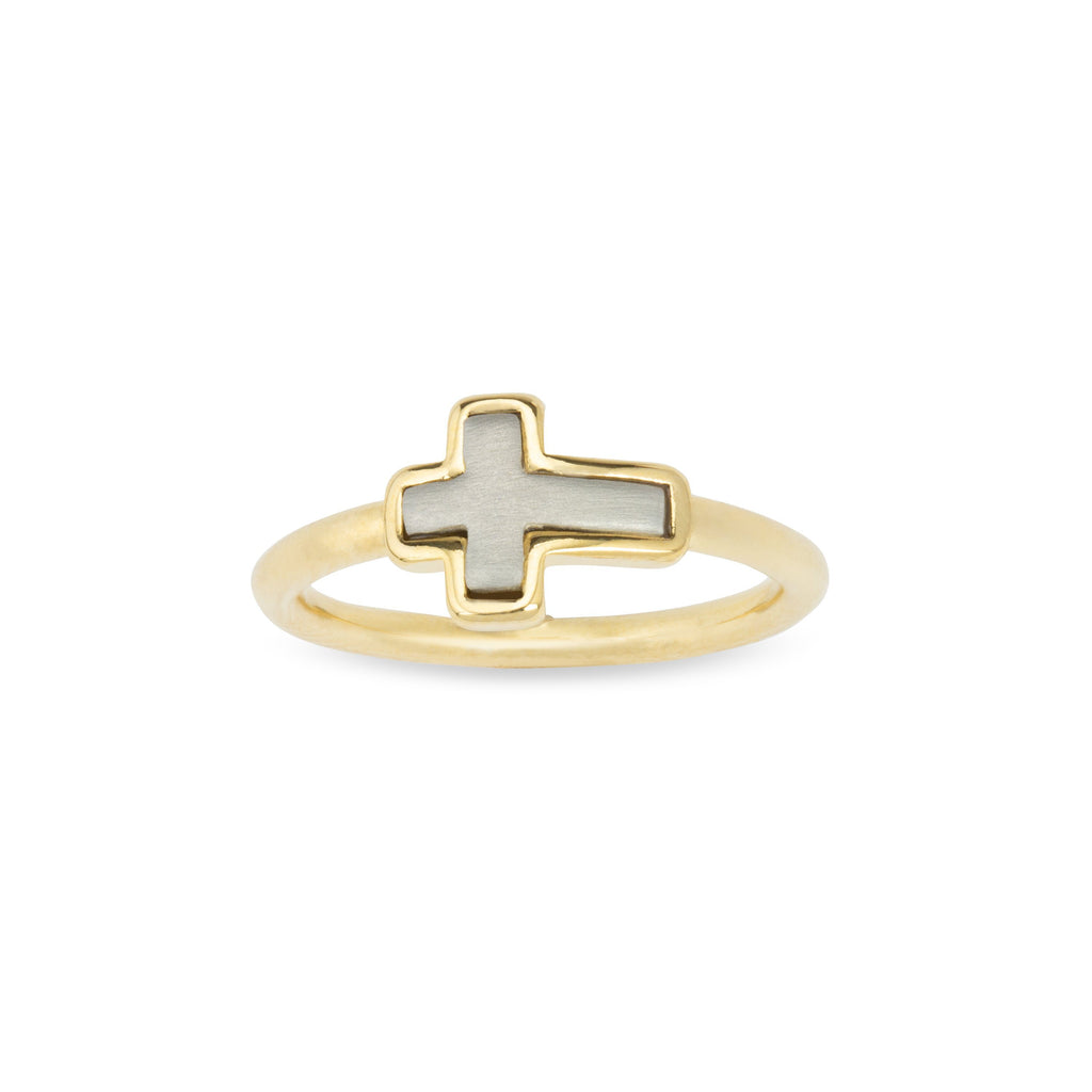 Two-Tone Cross Ring-Rings-finish:18k Gold Plated-6-Luca + Danni