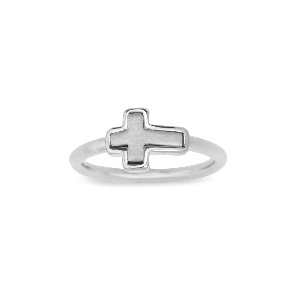 Two-Tone Cross Ring choose finish:Silver Plated