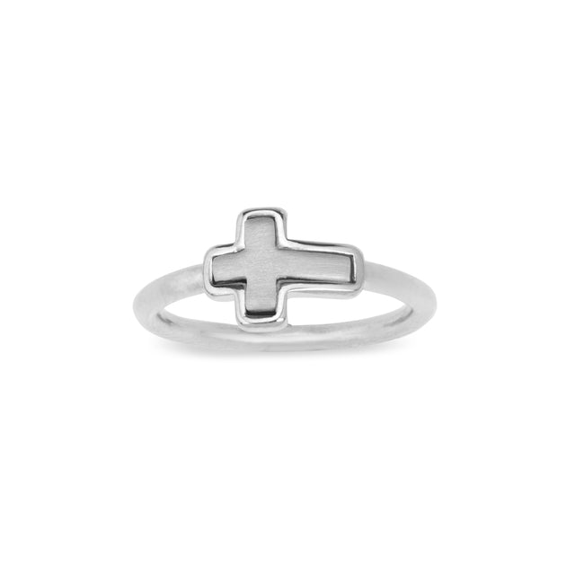Two-Tone Cross Ring-Rings-finish:Silver Plated-6-Luca + Danni