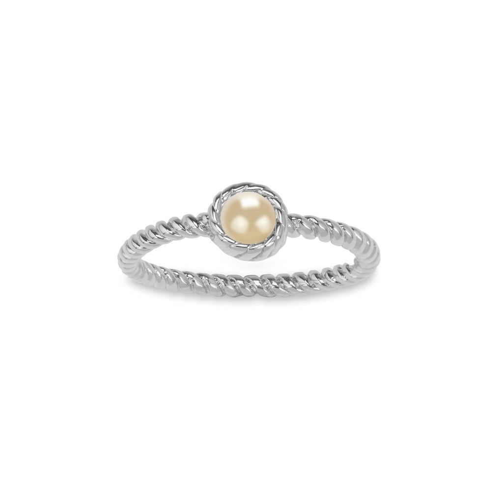 Crystal Pearl Ring in Champagne