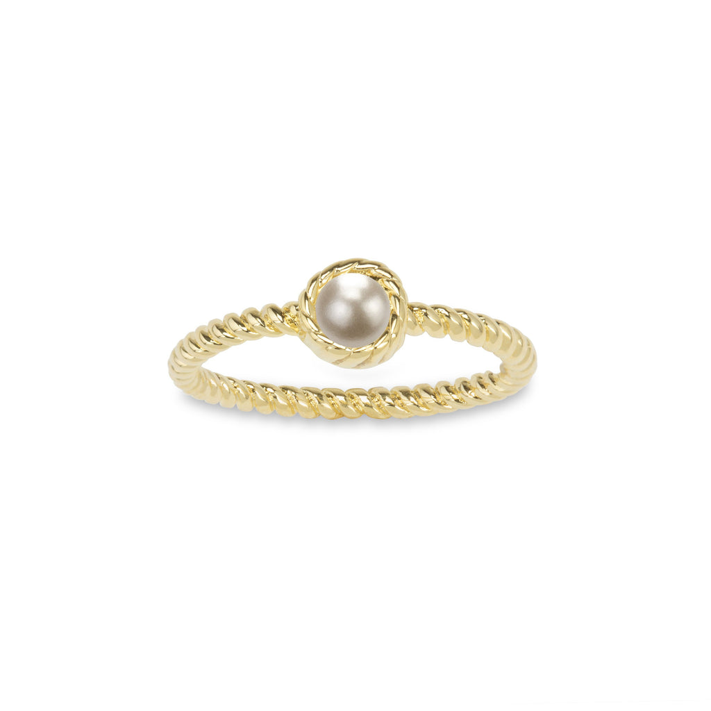 Crystal Pearl Ring in Pearl-Rings-finish:18kt Gold Plated-6-Luca + Danni