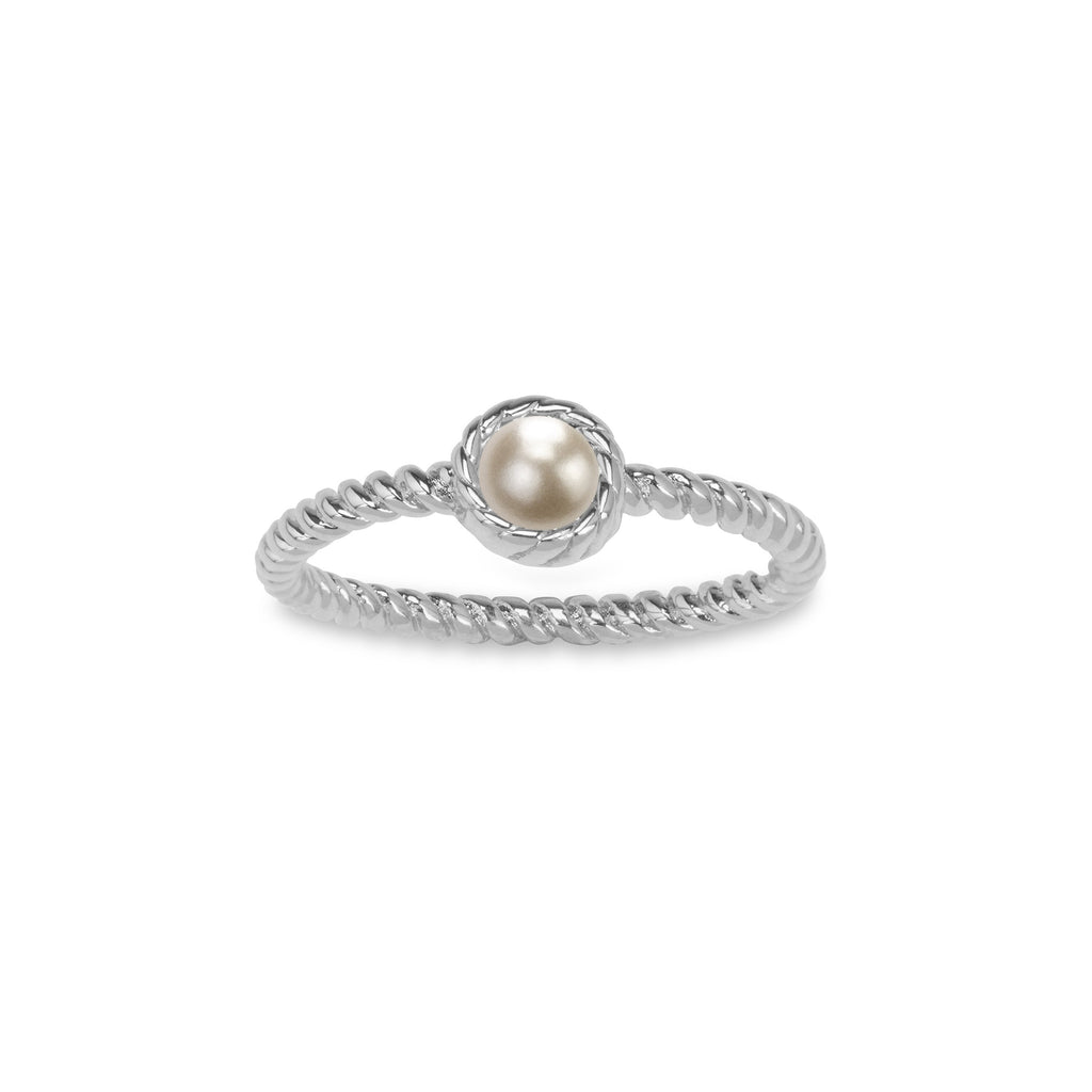 Crystal Pearl Ring in Pearl-Rings-finish:Silver Plated-6-Luca + Danni
