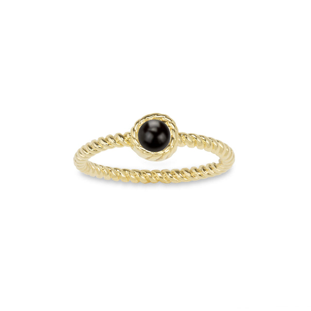 Crystal Pearl Ring in Jet-Rings-finish:18k Gold Plated-6-Luca + Danni