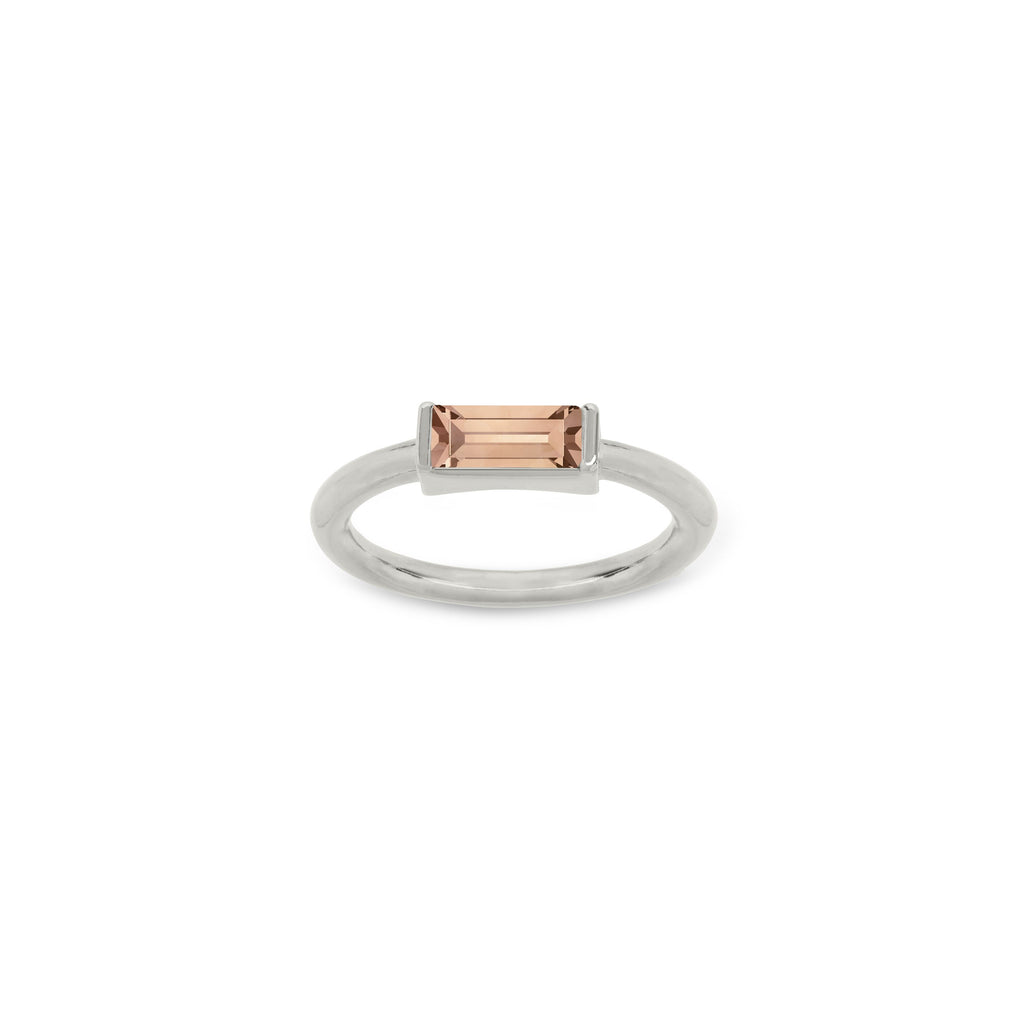 Mini Hudson Ring in Peach finish:Silver Plated