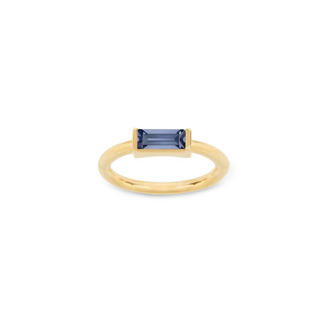 Mini Hudson Ring in Montana Blue finish:18k Gold Plated