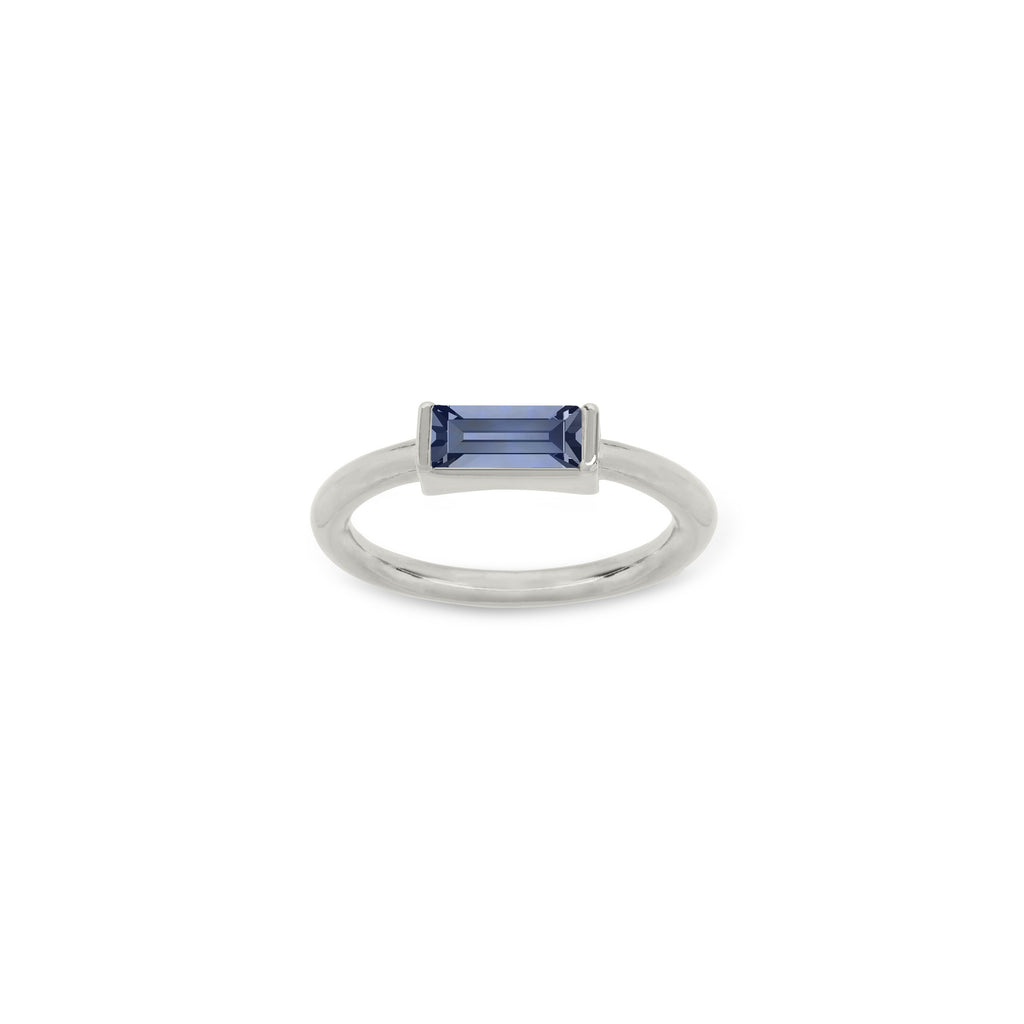 Mini Hudson Ring in Montana Blue finish:Silver Plated