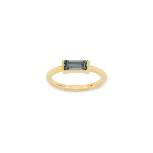 Mini Hudson Ring in Black Diamond finish:18k Gold Plated