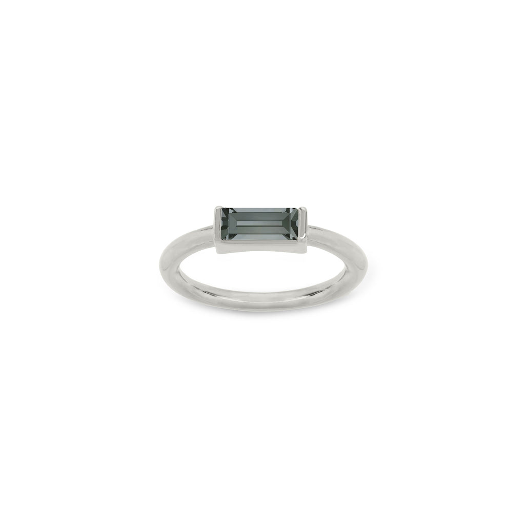 Mini Hudson Ring in Black Diamond finish:Silver Plated