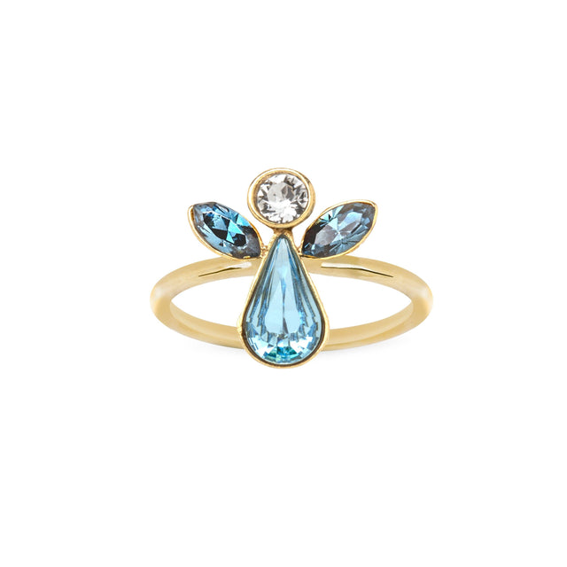 Crystal Angel Ring finish:18k Gold Plated