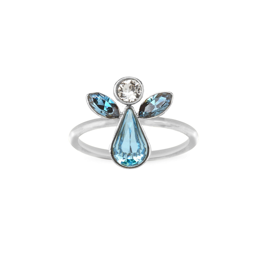 Crystal Angel Ring choose finish:Silver Plated