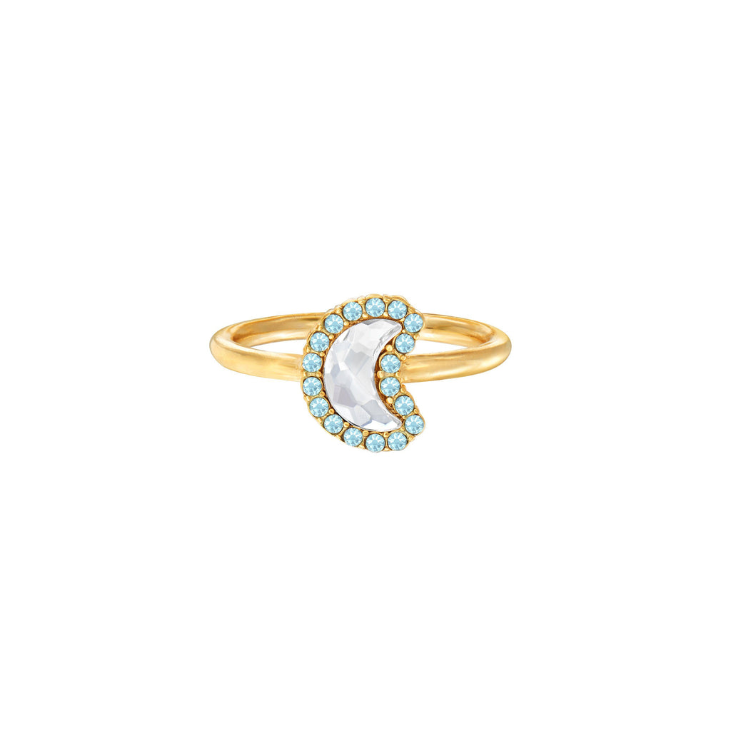 Crystal Pave Crescent Moon Ring choose finish:18kt Gold Plated