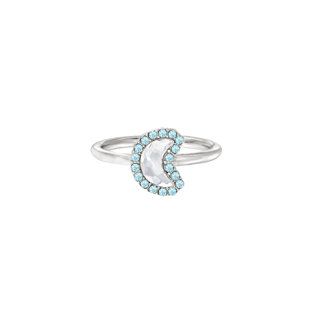 Crystal Pave Crescent Moon Ring choose finish:Silver Plated