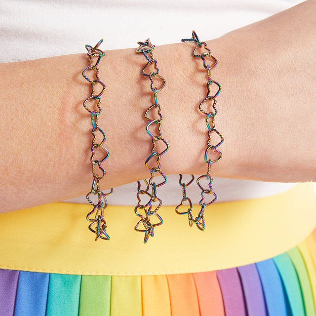 I Love Us Chain Bracelet in Rainbow