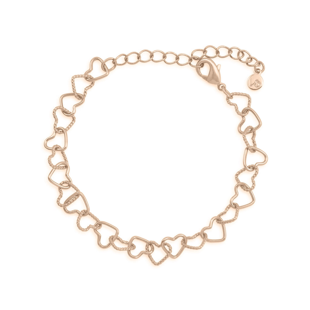 I Love Us Chain Bracelet finish:Rose Gold Plated