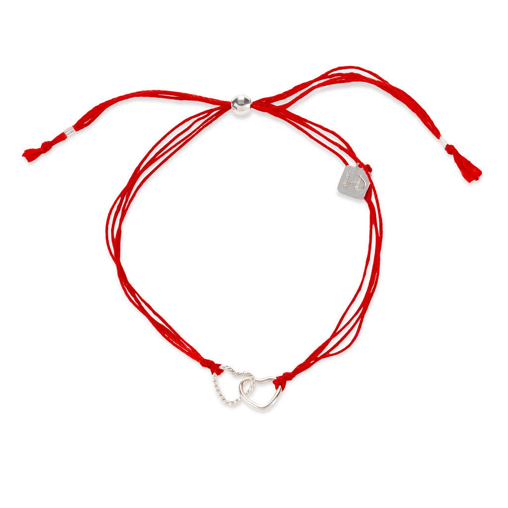 Red Cord with Hearts finish:Sterling Silver