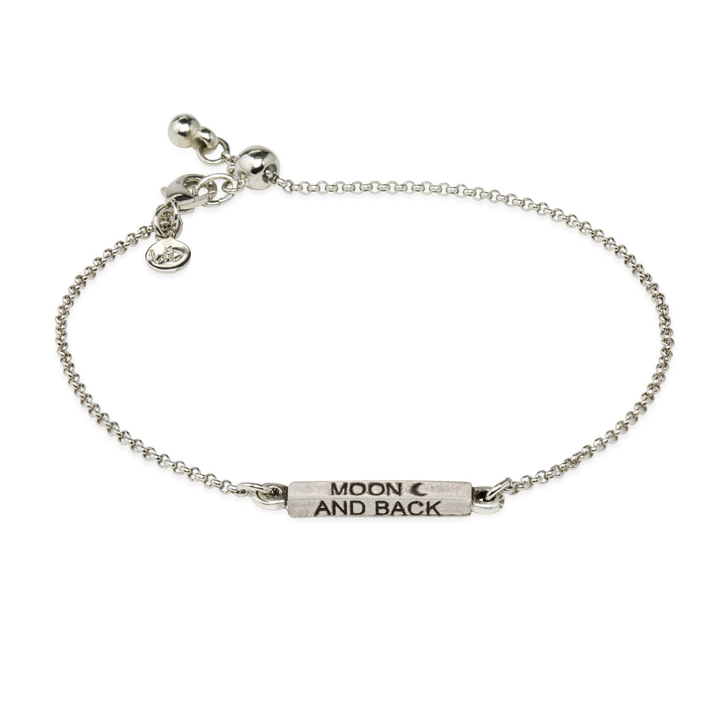 Moon & Back Slider Bracelet-Slider Bracelet-finish:Silver Plated-Luca + Danni