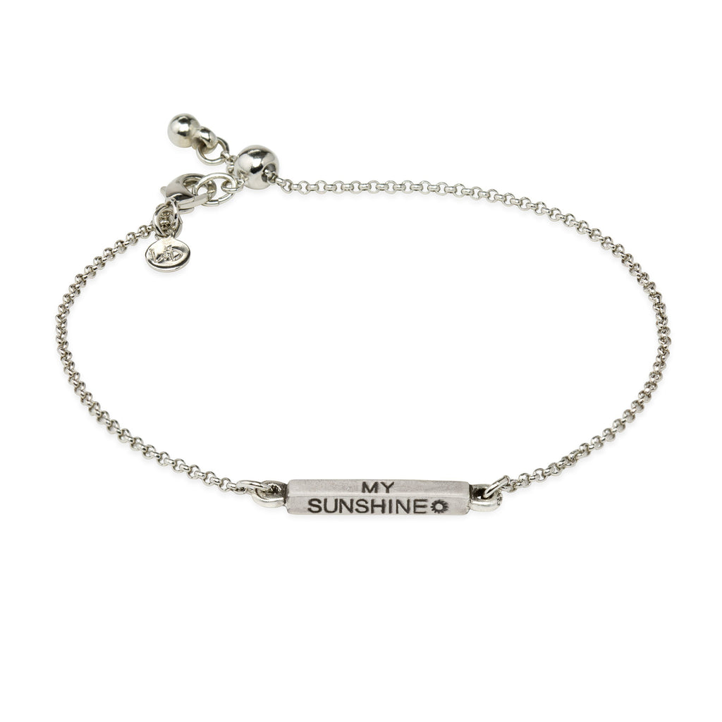 You Are My Sunshine Slider Bracelet-Slider Bracelet-finish:Silver Plated-Luca + Danni