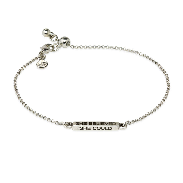 She Believed Slider Bracelet-Slider Bracelet-finish:Silver Plated-Luca + Danni