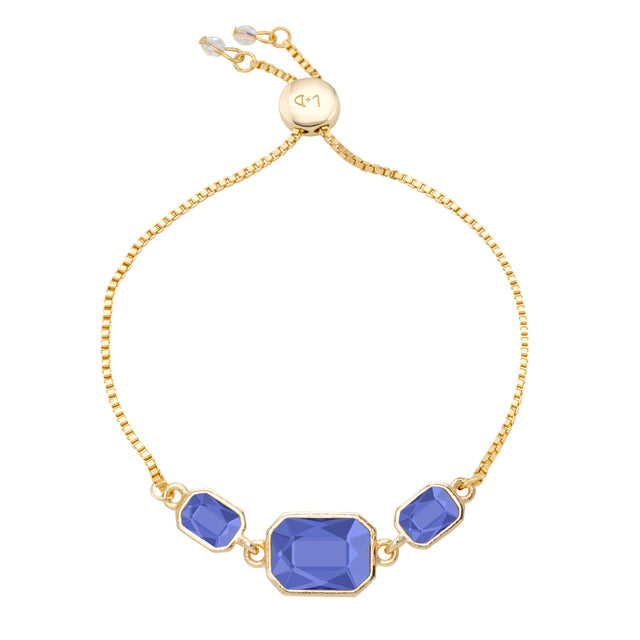 Dylan Slider Bracelet in Sapphire-Slider Bracelet-finish:18kt Gold Plated-Luca + Danni
