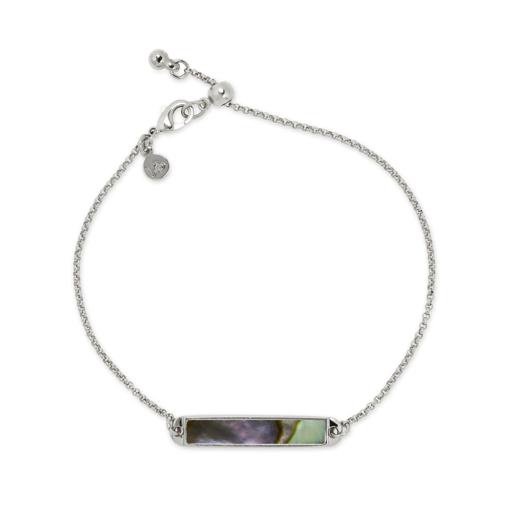 Hudson Slider Bracelet in Abalone Shell-Slider Bracelet-finish:Silver Plated-Luca + Danni