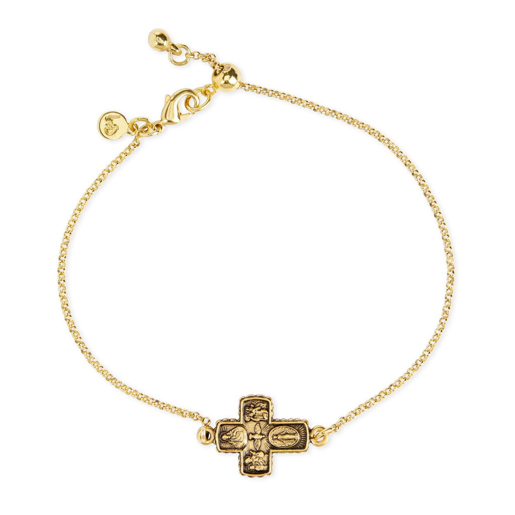 4 Way Medal Bracelet choose finish:18k Gold Plated