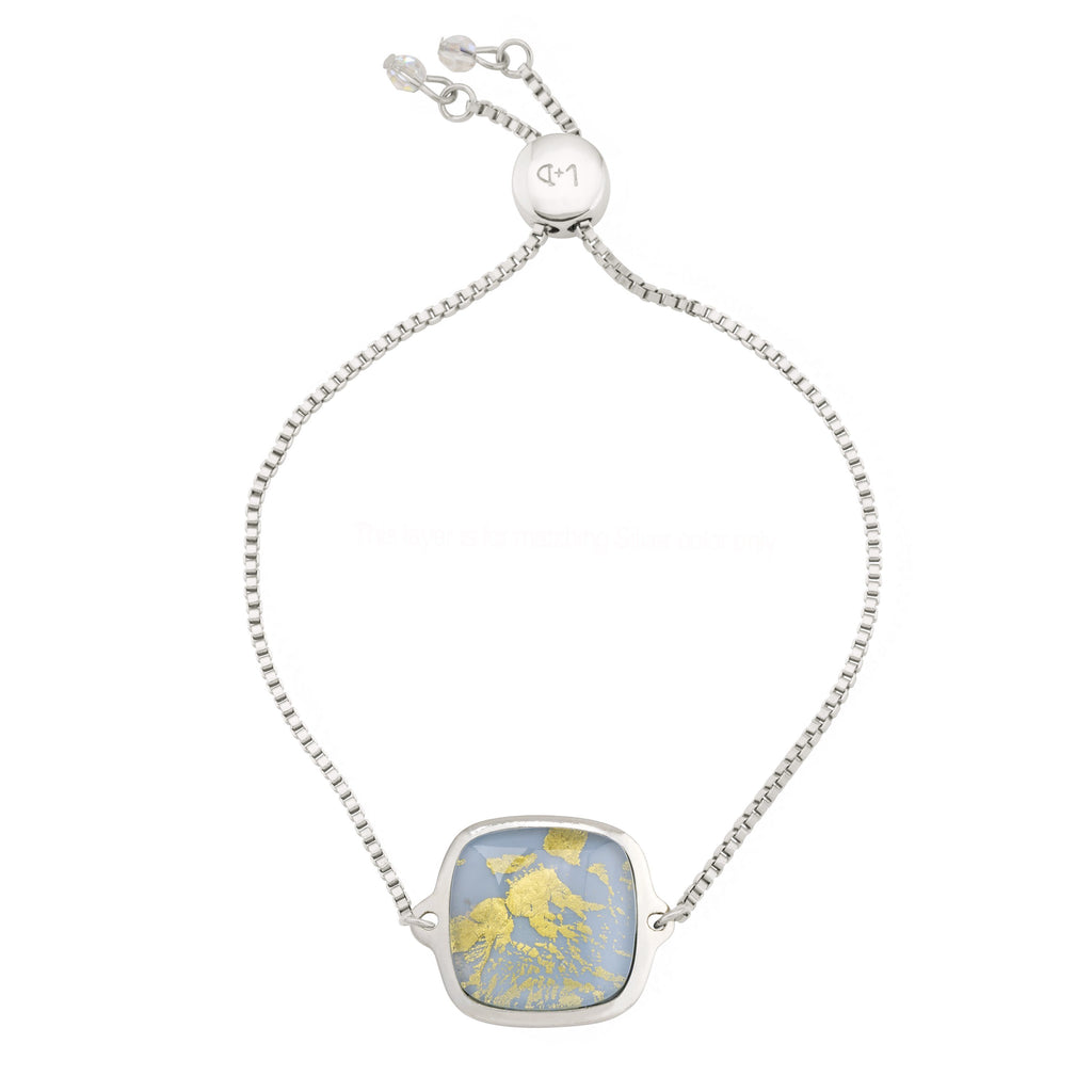 Golden Moonstone Slider Bracelet finish:Silver Plated