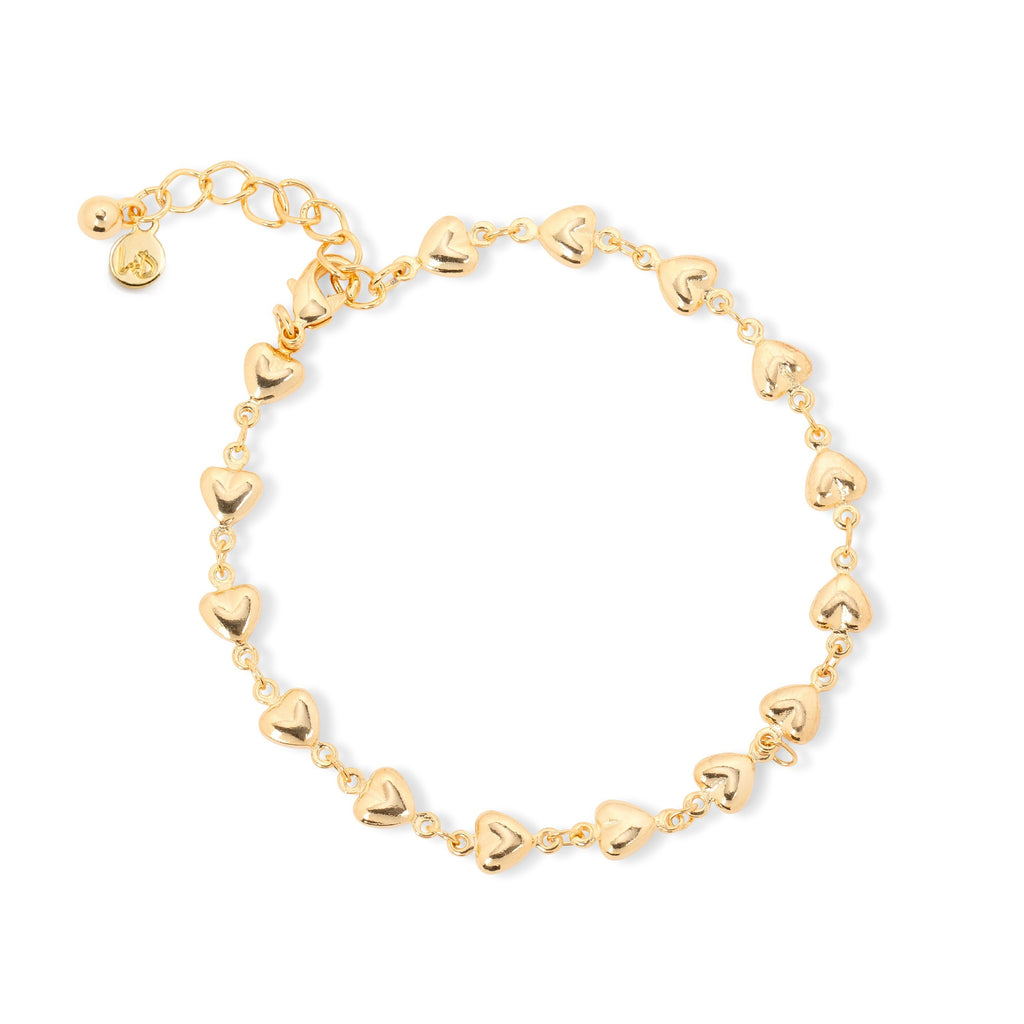 Puffed Heart Chain Bracelet finish:18k Gold Plated