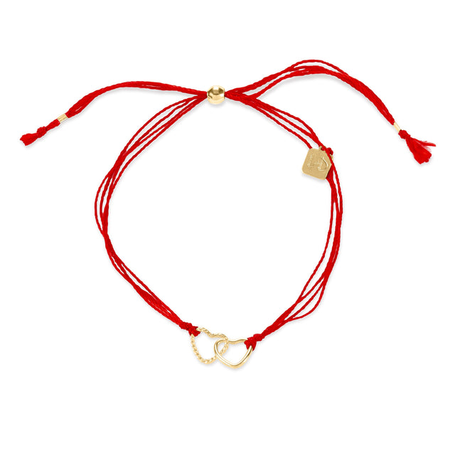 Red Cord with Hearts finish:18k Gold Plated