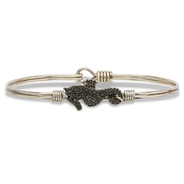 Seahorse Bangle Bracelet-Bangle Bracelet-Regular-finish:Silver Tone-Luca + Danni