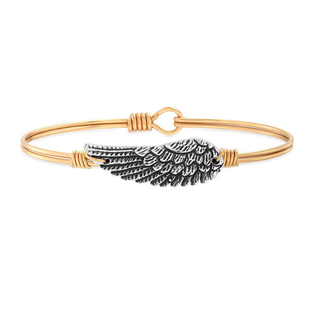 Angel Wing Bangle Bracelet finish:Brass Tone