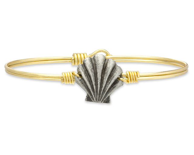 Shell Bangle Bracelet-Bangle Bracelet-Regular-finish:Brass Tone-Luca + Danni
